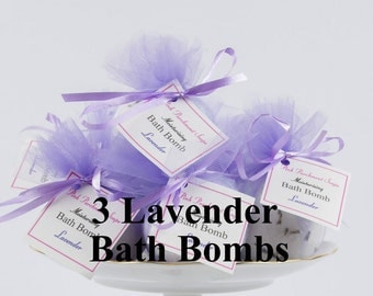 Lavender Bath Bomb Gift Set - Bath Bomb Set- Set Of 3 All Natural Bath Bombs - Spa Favor