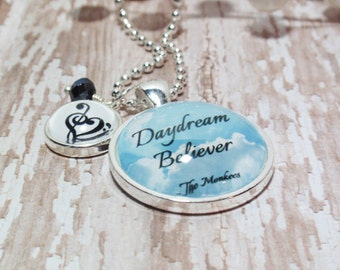 Medium Round- Glass Bubble Pendant Necklace With 1 Tiny Bubble Initial & Crystal Dangle- Daydream Believer