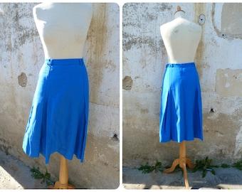 Vintage 1960/1970 mod flared skirt cobalt blue size M