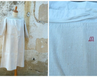 Vintage Antique 900 /1910 French Edwardian  pure linen shirt / nightgown  size M/L/XL