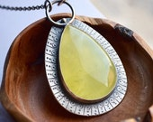 ON SALE Stunning Handmade Prehnite Necklace, Statement Jewelry, Textured Bezel Set Necklace, Contemporary Jewelry