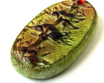 Handmade Clay Floral Pendant/Focal/Charm