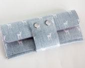 Handmade Vinyl Long Wallet - My Dear, large wallet, clutch, zipper, card case, vinyl wallet, snap wallet, deer wallet, gingham, linen
