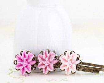 Flower Hair Pins, Flower Bobby Pins, Flower Girl Hair Accessory, Lilac Pink, Gift  For Girl, Floral Accessories, Gift For Woman