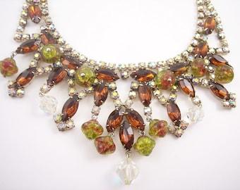 Vintage Glass Bead Rhinestone Bib Necklace