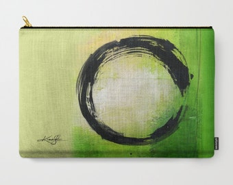 "Enso Art, Pouch, Zen Circle Purse, Bag, Abstract Painting art ""Enso Abstraction No. mm13"" by Kathy Morton Stanion  EBSQ"