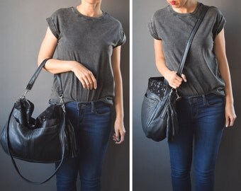 The TUNDRA Leather Bag /// black on black with large pockets
