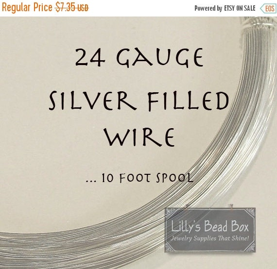 HOT SALE - 24 Gauge Wire, Silver FILLED Wire, Ten (10) Feet, Round, Half Hard Wire for Wire Wrapping Gemstones, Beads and Jewelry