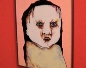 reverse glass painting ,sandy mastroni, creepy girl , original painting ,ready to hang