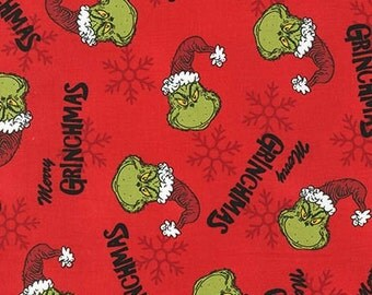 Dr. Seuss How The Grinch Stole Christmas 6 , Merry Grinchmas Grinch heads on Red, yard