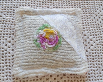 Lavender sachet made from vintage chenille bedspread with vintage crochet trim.