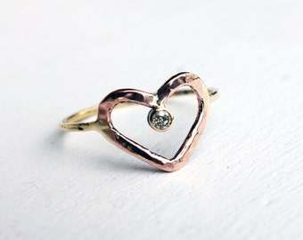 Handmade Rose and Yellow Gold Heart Ring with Champagne Diamond