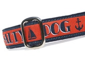 "1"" Dog Collar Salty Dog - Choose Your Collar Style!"