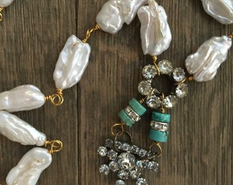 Vintage repurposed freshwater pearl, turquoise, and rhinestone one of a kind necklace