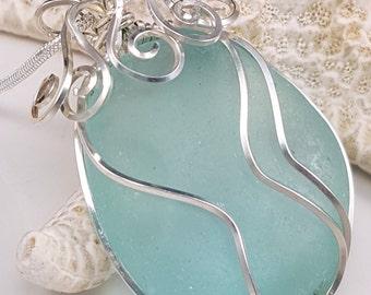 Aqua Sea Glass Wire Wrapped Sea Glass Pendant Necklace Sea Glass Jewelry N-380