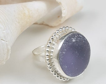 Sea Glass Jewelry Lavender Sea Glass Ring  Purple Sea Glass Lavender Beach Glass Gift for Her Christmas Gift Size 6 1/2 - R-077