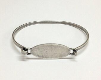 Bangle Bracelet Blank - SMALL-MED Silver Ox OVAL Hinge Top Stampable Cuff Bangle Bracelet Blank Base
