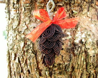 French beaded closed pine cone ornament