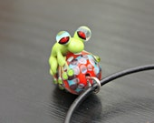 Gabe the Pastel Lime Green Artisan Handmade Glass Frog Bead Pendant Necklace In Sterling Silver on Leather