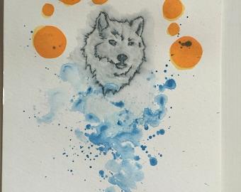 Watercolor mixed media: wolf saint