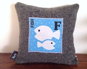 Fish Decorator Pillow, Kids Pillow, F for Fish, Cushion, Personalised Pillow, Animal Nursery, Kids Bedroom Decor, Christmas Gift, 25x25cm