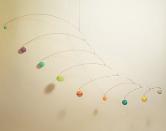 Glow in the Dark Solar 9 Planets with Pluto Hanging Mobile Art Sculpture by Julie Frith Calder Styled