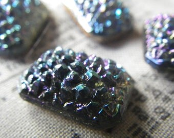 Montana Blue AB Vintage Glass Sugar Stones 18X13mm Octagons 4 Pcs