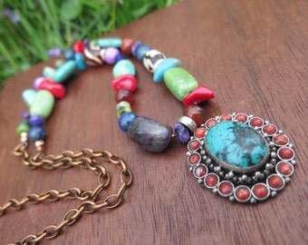Mexican Inspired with Tibetan Pendant Necklace - Medium Length Boho Stone & Wood Necklace - Copper Chain - Bright Colorful Hippie Jewelry