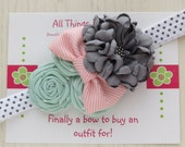 Mint and Grey headband, headbands for girls, newborn photo prop, pink and grey headband