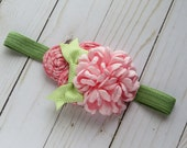 Coral Olive and Pink Headband for girls newborns babies newborn photography prop