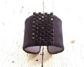 Black Ultrasuede and Black Rhinestone Adjustable Cuff