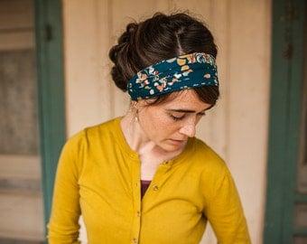 Indigo Flora Garlands of Grace Print headcovering scarf headband headwrap