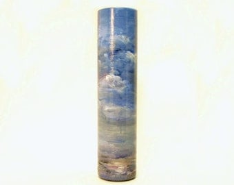 Impressionist Landscape Hand Painted Glass Vase- Original Home Decor