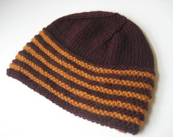 knit hat maroon and orange hand knit hat