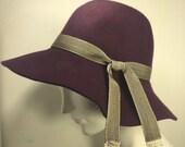 Purple wool floppy hat for women, Marsala wool hat- 1970's Style Floppy Hat- Handmade by Anne DePasquale New York