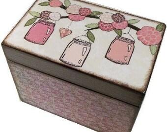 Recipe Box, Wood Recipe Box, Greeting Card Box, Mason Jar - Other Designs, Wedding Recipe, Bridal Shower Box, Holds 5x7 Cards, MADE TO ORDER