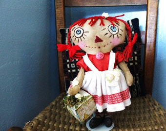 Primitive Sweet Raggedy Ann Doll with stand