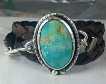 Turquoise Bracelet, American Turquoise Cuff Bracelet, Stone  and silver wrap bracelet, leather and turquoise stone bracelet