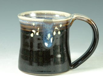 Small pottery Mug (14oz) in tenmoku black glaze - great morning coffee mugs