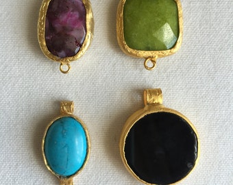 CLEARANCE LOT 4 PCS Jade, Onyx, Turquoise, Agate Connector Mix, Gold Plated