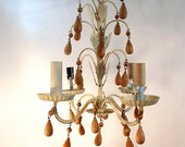 vintage metal tole chandelier ivory with wood drops crystals shabby chic small chandelier light vintage lighting painted metal