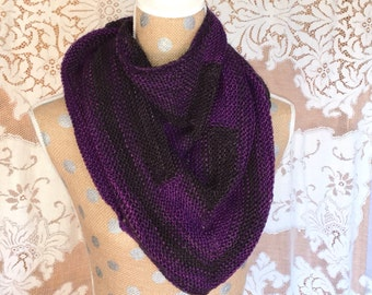 Shawl Scarf Women's Handknit Wool Purple and Black Colorblock