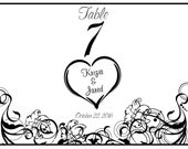 Vellum Luminarie Lantern Table Number - Personalized with Vining Hearts (7) Tea Lights (7)