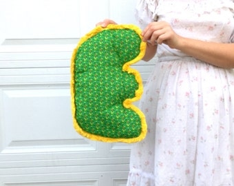 THE LETTER E - 1960's Handmade Wall Hanging / Baby Room / Alphabet / Green and Yellow / Mod / Patchwork / Name / Gift / Baby Shower