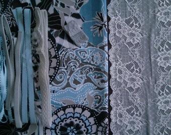 DIY Fabric and notions Retro Flowers Brown Blue & Grey for 1 BRA and BRIEF by Merckwaerdigh
