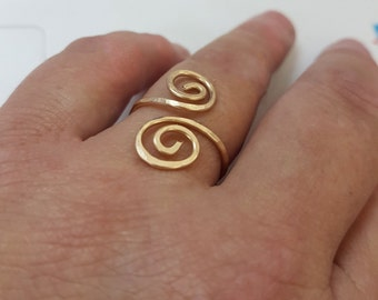 Gold spiral ring, hammered gold ring, open adjustable gold ring, swirl ring gold filled