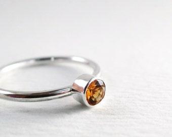 Citrine ring, Sterling Silver, golden gemstone, Stacking ring, November Birthstone