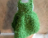 Dish Soap Bottle Scrubby Dress Dishcloth Handknit Green Polyester Scrubbie Fabric