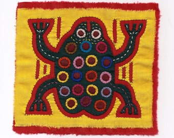 Super-Special Spotted Green Frog Mola Mini - Kuna Indian Reverse Applique
