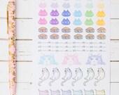 Rainbow Kitty GLOSS Sticker Sheet | For Kikki K, Erin Condren, FiloFax or Bullet Journals and Planners